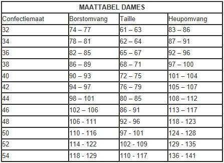 da072ece831 Maattabel verkleedkleding dames